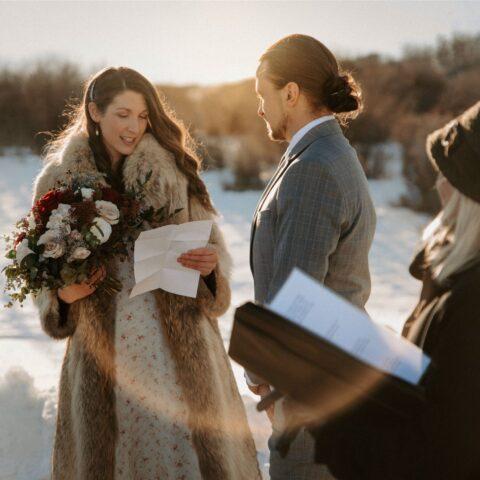 Outdoor Winter Foothills Wedding